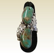 Fine Native American Sterling Silver Turquoise Ring Signed RB