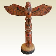 Vintage Hand Carved Model Totem Pole - 9""
