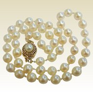 Vintage Pearl Necklace w/ 14K Pearl Adorned Clasp
