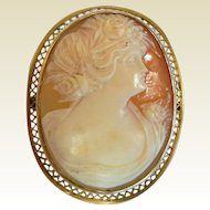 Fine Antique 10K Cameo Brooch