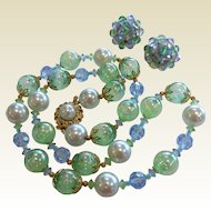 Vintage Green & Blue Glass Bubble & Faux-Pearl Bead Necklace w/ Clip Earrings
