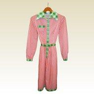 Vintage Oscar de la Renta Red/Green Gingham Dress