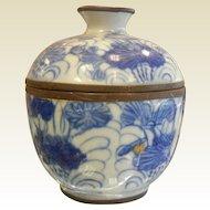 Antique 1820's Asian Blue & White Porcelain Container w/ Lid