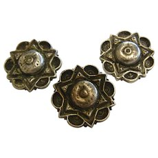 Unique Jewish Star Of David Vintage Silver-Tone Buttons - Set of Three