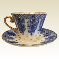 Vintage Signed USSR Gilt Cobalt  Blue & White Porcelain Teacup & Saucer
