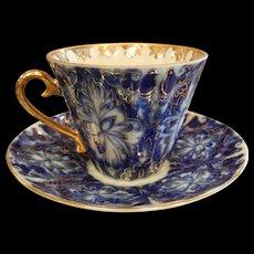 Signed USSR Gilt Cobalt Blue & White Porcelain Teacup & Saucer