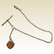 Vintage Gold Filled Watch Fob Chain w/ Locket
