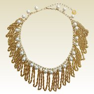 Vintage LISNER Faux-Pearl & Gold-Tone Chain Costume Jewelry Necklace