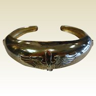 Vintage Hinged Cuff Bracelet w/ WWII Aviation Wings & Propeller Sweet Heart Bracelet