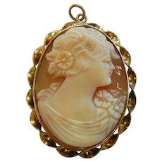 Vintage Gold Filled Shell Carved Cameo Pendant