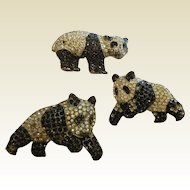 Trio of 1950's Vintage Rhinestone Panda Brooches