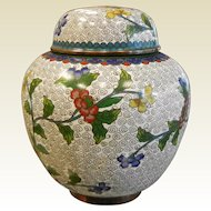 Vintage White Chinese Enameled Cloisonne Herb Container