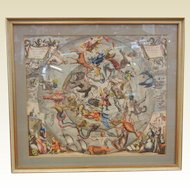 Framed Antique Colorized Lithograph Constellation Map by Joannes Janssonius - Anno 1660 Zodiac Design