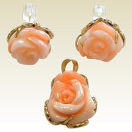 Fine 14K Pendant & Earrings Set w/ Carved Natural Coral Roses