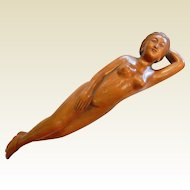 """Rare Vintage Chinese Boxwood? Carved Medical Doctor's Lady - 9"""""""