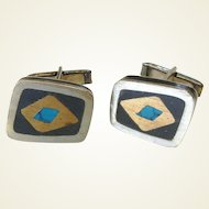 Vintage Turquoise Inlay Cuff Links Signed Hecho en Mexico