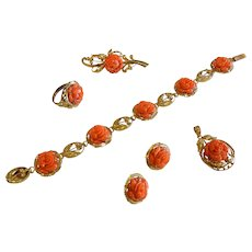 Fine 14K Gold Jewelry Set w/ Carved Natural Coral Roses
