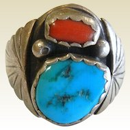 Vintage Native American Sterling Silver Turquoise & Coral Ring