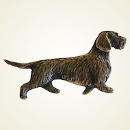 Vintage Sterling Silver Long Haired Dachsen Dog Pin/Brooch