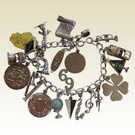 Vintage Sterling Silver Graduated 1969 Charm Bracelet