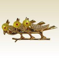 Vintage Circa 1950's Bird Trio On Tree Costume Jewelry Brooch