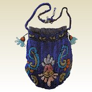 Old Vintage Blue and Multi Color Small Bead Beaded Handbag