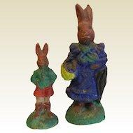 Pair of Vintage German Hand Crafted Clay Painted Rabbit Figurines