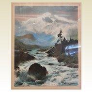 Old Sydney Laurence Framed Print - Mountains & River