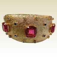 Vintage Gold-Tone Costume Jewelry Bracelet w/ Pink, Blue, Clear Rhinestones