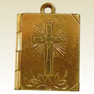 Vintage Yellow Gold Filled Bible Locket Pendant