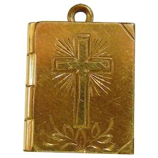 Vintage Yellow Gold Filled Bible Locket Pendant