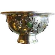 Vintage Chinese Silver-Tone Bowl w/ Gemstones Amethyst Carnelian