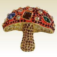 Vintage Enamel & Rhinestone Mushroom Brooch