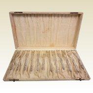 Fine Old Ornate Set of 12 Sterling Silver Oyster Forks