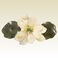 Vintage Chinese Carved Natural Stone Waterlily Flower Centerpiece