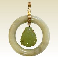 Fine 14K Natural Jade Moving Buddha Pendant