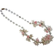 Vintage Hand Blown Italian Glass Pink Floral Cluster & Bubble Bead Necklace