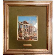 Vintage Large Signed High Quality Hard Stone Italian Architectural Pictorial Pietra Dura Inlay Picture
