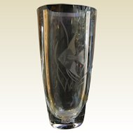 Vintage Strumbergshyttan Sweden Heavy Crystal Glass Vase w/ Etched Fish Design