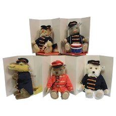 Vintage 1988 Steiff Golden Age of the Circus, Set of 5 Performers Animals