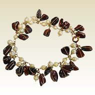 Lovely Vintage Wire Wrapped Garnet & Pearl Bead Bracelet
