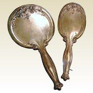 Antique WEBSTER Sterling Silver Vanity Set - Hand Mirror & Brush
