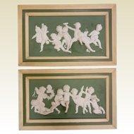 Fine Pair of Antique Jasperware Framed Porcelain PUTTI Plaques