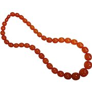 Fabulous Large Vintage Graduated Natural Amber Bead Necklace
