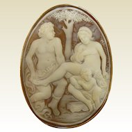 Large Carved Vintage Italian  Scene Lovers and Cherub Carved  18 K Natural Shell Cameo