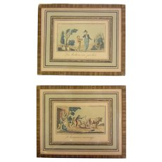 Pair of Vintage Miniature Colorized Lithographs - Made in France