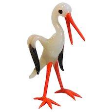 Vintage West Germany Blown Glass Stork Figurine