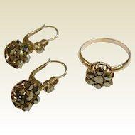 Antique Marcasite Ring & Earrings Set