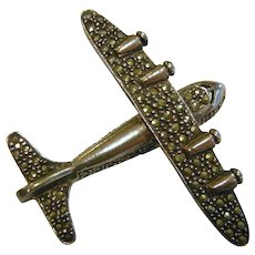 Vintage Marcasite Sterling Silver Airplane Brooch Pin