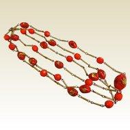 Super Long Vintage Hattie Carnegie Gold-Tone & Red Glass Bead Necklace